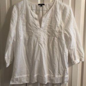 NYDJ White boho tunic top size medium EUC
